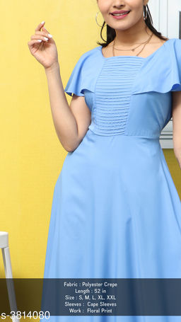 Women's Solid Blue Polyester Dress