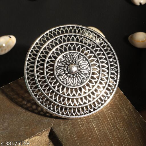Designer Stylish Oxidized Traditional Silver Plated Geometric Shaped Adjustable Cocktail Ring
