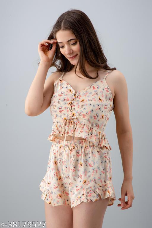 Women Floral Print Nightwear Multicolor Top & Shorts Set Sleepwear
