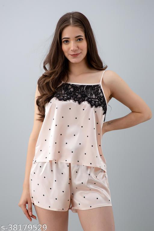 Women Polka Print Sleepwear Pink Top & Shorts Set