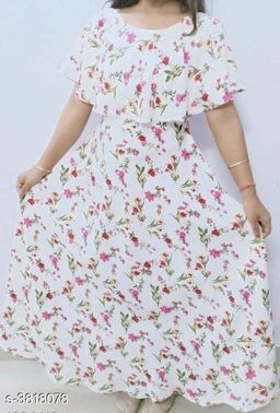Printed White Maxi Crepe Dress