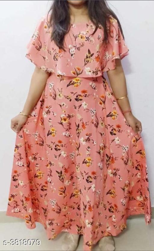 Printed Pink Maxi Crepe Dress