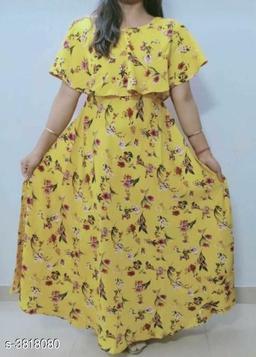 Printed Yellow Maxi Crepe Dress