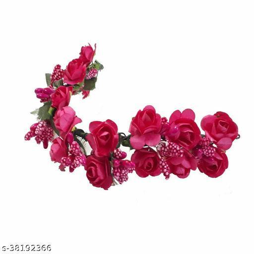 Women's Pink Fabric Juda Maker Flower Gajra Bun Hair Accessory For Women And Girls