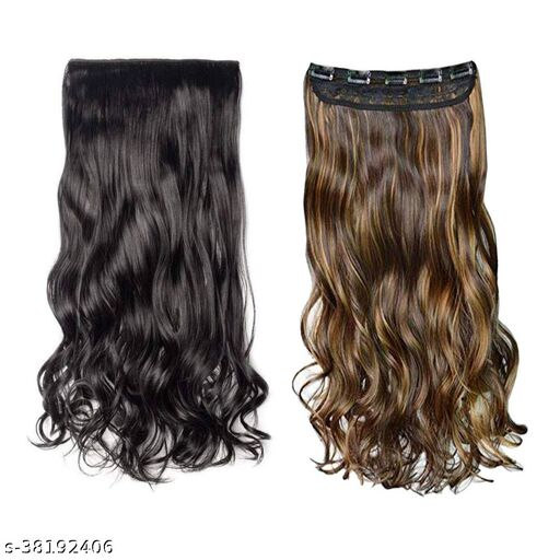 26Inch Curly Hair Extenshion Artificial hair wig  for Womens and Girls (Black And Brown), Pack of 2