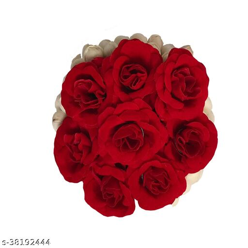 Artificial Flower Bun Hair Flower Gajra Bun for Wedding and Parties for Women Red & White Color (Pack of 1)