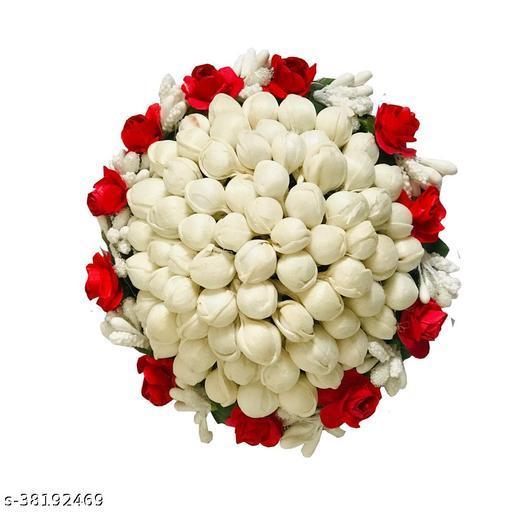 New Artificial flower Full Juda Bun Hair Flower Gajra Red & White Color Pack of 1