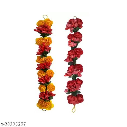 Hair Gajra Juda Gajra flower Bun Hair Gajra for Wedding and Parties Use for Women, Multicolor Pack of 2