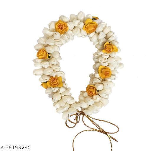 Flower Hair Mogra Bun Gajra Juda  Accessories for Women, Yellow & White Color Pack of 1
