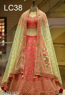 Womens Velvet Heavy Embroidered Work Wedding Lehenga Choli
