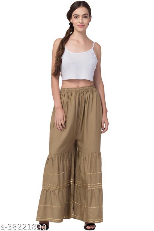"Lalymart Women Flared Gota Gharara/Sharara Ethinic Bottom Wear, Free Size (26"" To 48"" Inches)"
