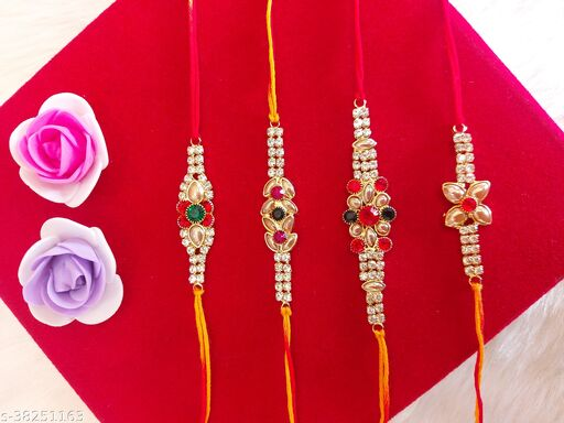 latest fancy silver gold plated AD stone rakhi pack of 4