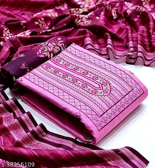 Fab Kudi Women's Pink Color Cotton Embroidered Unstitched Dress material salwar suit