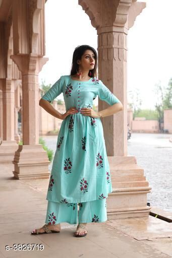 Kurta Sets Elegant Attractive Women's Kurta Set  *Fabric* Kurti -  Cotton , Palazzo - Cotton    *Sleeves* 3/4 Sleeves Are included  *Size* Kurti - M - 38 in, L - 40 in, XL- 42 in, XXL - 44 in,  Palazzo - M - 30 in, L - 32 in, XL - 34 in, XXL - 36 in    *Length* Kurti - Up To 46 in, Palazzo  *Type* Stitched  *Description* It Has 1 Piece Of Women's Kurti & 1 Piece Of Palazzo  *Color* Sky Blue  *Work * Kurti - Printed, Palazzo - Printed  *Sizes Available* M, L, XL, XXL   Supplier Rating: ★3.5 (58) SKU: Sky Blue Kurta Palazz Set  Free shipping is available for this item. Pkt. Weight Range: 400  Catalog Name: New Elegant Attractive Women's Kurta Sets Vol 12 - ARE PEETA Code: 077-3826719--