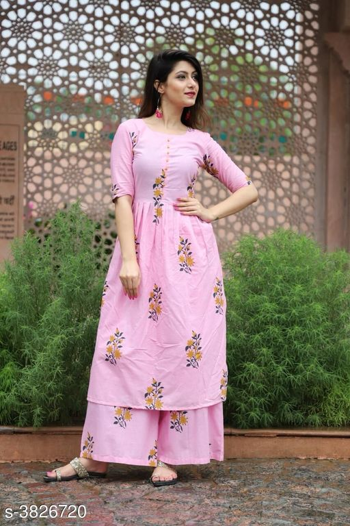 Kurta Sets Elegant Attractive Women's Kurta Set  *Fabric* Kurti -  Cotton , Palazzo - Cotton    *Sleeves* 3/4 Sleeves Are included  *Size* Kurti - M - 38 in, L - 40 in, XL- 42 in, XXL - 44 in,  Palazzo - M - 30 in, L - 32 in, XL - 34 in, XXL - 36 in    *Length* Kurti - Up To 46 in, Palazzo  *Type* Stitched  *Description* It Has 1 Piece Of Women's Kurti & 1 Piece Of Palazzo  *Color* Pink  *Work * Kurti - Printed, Palazzo - Printed  *Sizes Available* M, L, XL, XXL   Supplier Rating: ★3.5 (58) SKU: Pink Kurta Palazzo Set   Free shipping is available for this item. Pkt. Weight Range: 400  Catalog Name: New Elegant Attractive Women's Kurta Sets Vol 12 - ARE PEETA Code: 077-3826720--