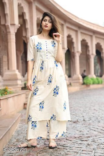 Kurta Sets Elegant Attractive Women's Kurta Set  *Fabric* Kurti -  Cotton , Palazzo - Cotton    *Sleeves* 3/4 Sleeves Are included  *Size* Kurti - M - 38 in, L - 40 in, XL- 42 in, XXL - 44 in,  Palazzo - M - 30 in, L - 32 in, XL - 34 in, XXL - 36 in    *Length* Kurti - Up To 46 in, Palazzo  *Type* Stitched  *Description* It Has 1 Piece Of Women's Kurti & 1 Piece Of Palazzo  *Color* Beige  *Work * Kurti - Printed, Palazzo - Printed  *Sizes Available* M, L, XL, XXL   Supplier Rating: ★3.5 (58) SKU: Beige Kurta Palazzo Set    Free shipping is available for this item. Pkt. Weight Range: 400  Catalog Name: New Elegant Attractive Women's Kurta Sets Vol 12 - ARE PEETA Code: 077-3826721--