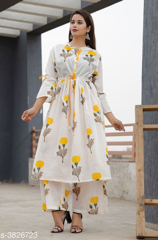 Kurta Sets Elegant Attractive Women's Kurta Set  *Fabric* Kurti -  Cotton , Palazzo - Cotton    *Sleeves* 3/4 Sleeves Are included  *Size* Kurti - M - 38 in, L - 40 in, XL- 42 in, XXL - 44 in,  Palazzo - M - 30 in, L - 32 in, XL - 34 in, XXL - 36 in    *Length* Kurti - Up To 46 in, Palazzo  *Type* Stitched  *Description* It Has 1 Piece Of Women's Kurti & 1 Piece Of Palazzo  *Color* Yellow  *Work * Kurti - Printed, Palazzo - Printed  *Sizes Available* M, L, XL, XXL   Supplier Rating: ★3.5 (58) SKU: Yellow flower kurta palaazo set      Free shipping is available for this item. Pkt. Weight Range: 400  Catalog Name: New Elegant Attractive Women's Kurta Sets Vol 12 - ARE PEETA Code: 029-3826723--