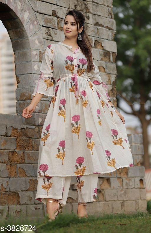 Kurta Sets Elegant Attractive Women's Kurta Set  *Fabric* Kurti -  Cotton , Palazzo - Cotton    *Sleeves* 3/4 Sleeves Are included  *Size* Kurti - M - 38 in, L - 40 in, XL- 42 in, XXL - 44 in,  Palazzo - M - 30 in, L - 32 in, XL - 34 in, XXL - 36 in    *Length* Kurti - Up To 46 in, Palazzo  *Type* Stitched  *Description* It Has 1 Piece Of Women's Kurti & 1 Piece Of Palazzo  *Color* Pink  *Work * Kurti - Printed, Palazzo - Printed  *Sizes Available* M, L, XL, XXL   Supplier Rating: ★3.5 (58) SKU: Pink flower kurta palaazo set       Free shipping is available for this item. Pkt. Weight Range: 400  Catalog Name: New Elegant Attractive Women's Kurta Sets Vol 12 - ARE PEETA Code: 029-3826724--