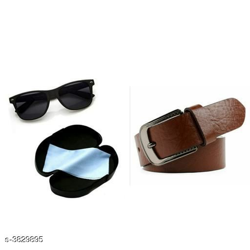 PU Leather Men's Belt & Sunglasses Combo