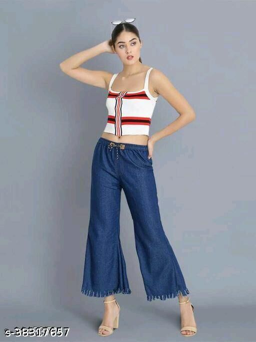 Trendy Fashionable Fashionista Solid Denim Women Palazzos