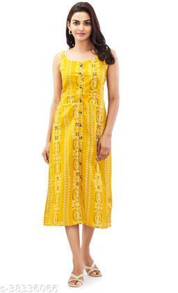 Ramya women slub cotton button Dress