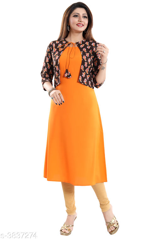 Women Crepe Jacket Kurta Solid Orange Kurti
