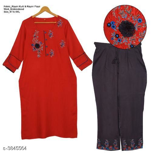 Kurta Sets Women's Embroidered Rayon Kurta set with Palazzos  *Fabric* Kurta - Rayon , Palazzo  - Rayon  *Sleeves* Sleeves Are Included  *Size* Kurta - M -38, L-40 in ,XL-42 in ,XXL-44 in, Palazzo - L- 38 in, XL-40 in, XXL- 42 in  *Length* Kurta - Up To 46 in, Palazzo - Up To 38 in  *Type* Stitched  *Description* It Has 1 Piece Of Women's Kurta & 1 Piece Of Palazzo  *Work* Kurta - Embroidered , Palazzo -Embroidered  *Dispatch* 2 - 3 Days  *Sizes Available* M, L, XL, XXL *    Catalog Name: Women's Embroidered Rayon Kurta Sets CatalogID_540113 C74-SC1003 Code: 496-3845564-