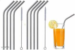 Straw Stainless Steel (4 Bend, 2 Cleaning Brush)