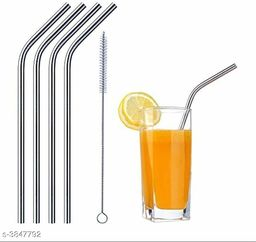 Straw Stainless Steel (4 Bend, 1 Cleaning Brush)