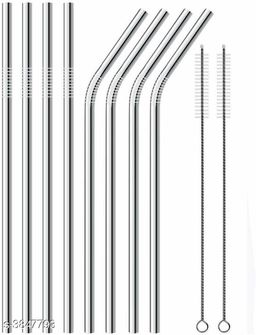 Straw Stainless Steel (4 Bend, 4 Straight, 2 Cleaning Brush)