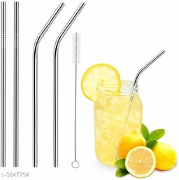 Straw Stainless Steel (2 Bend, 2 Straight, 1 Cleaning Brush)