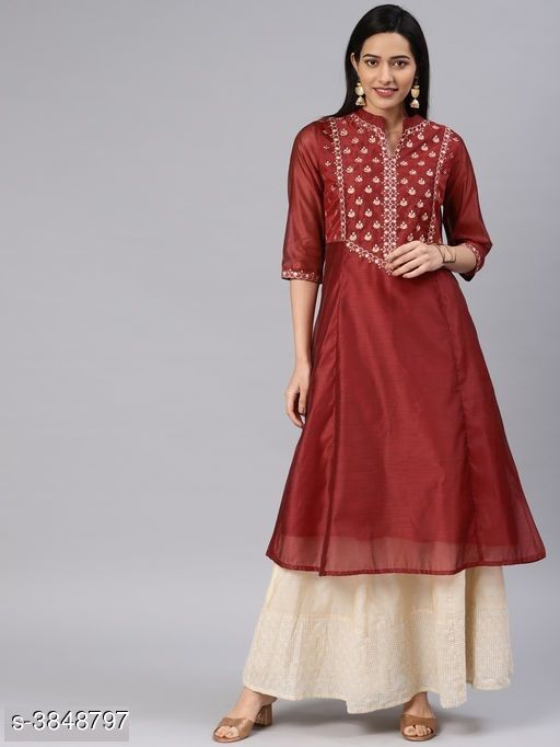 Women's Chanderi Silk Maroon A-line Floral Embroidered Kurti