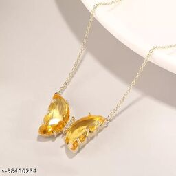 Attractive Yellow Crystal Butterfly Necklace Chain and Pendant for Women and Girls