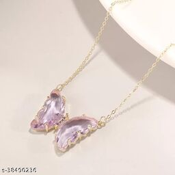 Stunning Purple Crystal Butterfly Necklace Chain and Pendant for Women and Girls