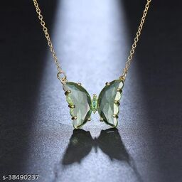 Stylish Green Crystal Butterfly Necklace Chain and Pendant for Women and Girls