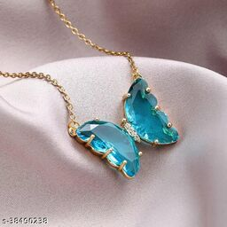 Stunning Blue Crystal Butterfly Necklace Chain and Pendant for Women and Girls