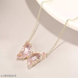 Cute Pink Crystal Butterfly Necklace Chain and Pendant for Women and Girls