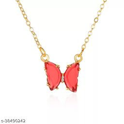 Cute Red Crystal Butterfly Necklace Chain and Pendant for Women and Girls