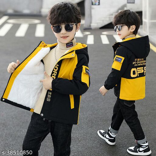 Hopscotch Boys Fiber Full Sleeves Solid Coat in Yellow Color (996156)