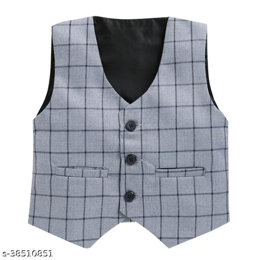 Hopscotch Boys Silk Cotton Blend Checkered Waistcoat in Gray Color (846874)