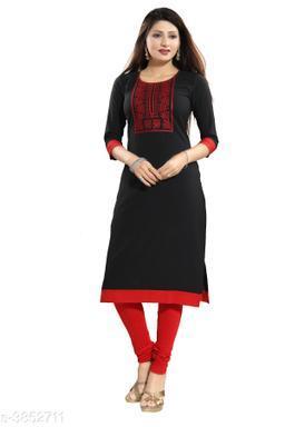 Women's Black Embroidered Crepe Kurti