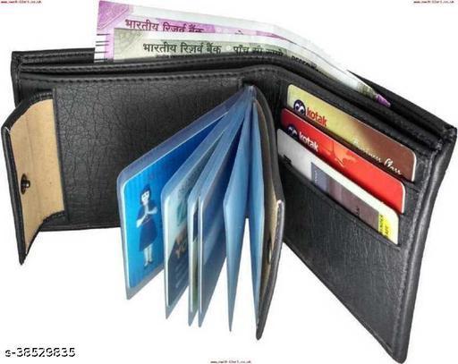 Men Black Genuine Leather Wallet  (10 Card Slots)