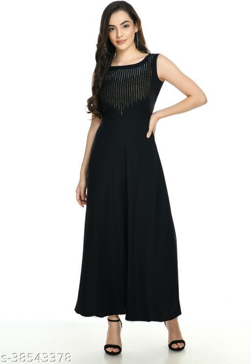 IQRA FASHION FASHIONABLE TRENDY WOMEN BLACK DRESS