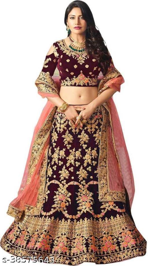 Womens Velvet Embroidered Lengha Choli