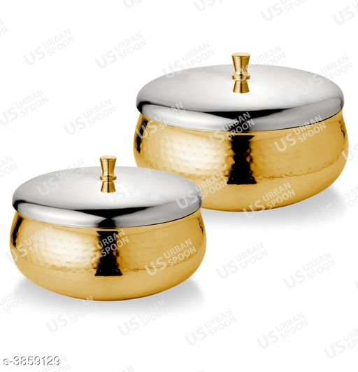 Urban Spoon Raga Double Walled Serving/Storage Bowl Gold Set of 2 Pcs 600Ml / 800Ml - 13 & 15 Cm Dia