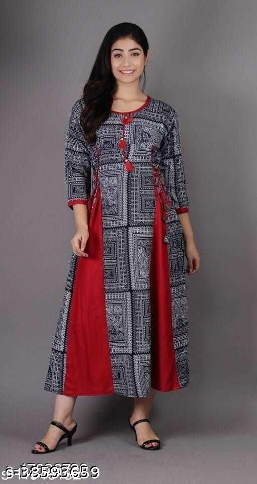Rayon  Printed  gown cum kurti