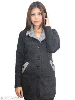 Womens Woollen Collared Coat / Cardigan