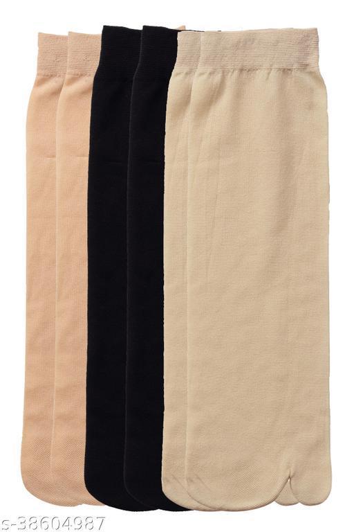 Kolor Fusion Nylon Thin Transparent Ankle Thumb Socks (Pack of 6)