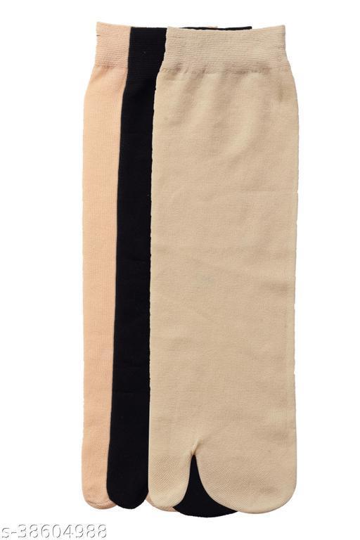 Kolor Fusion Nylon Thin Transparent Ankle Thumb Socks (Pack of 3)