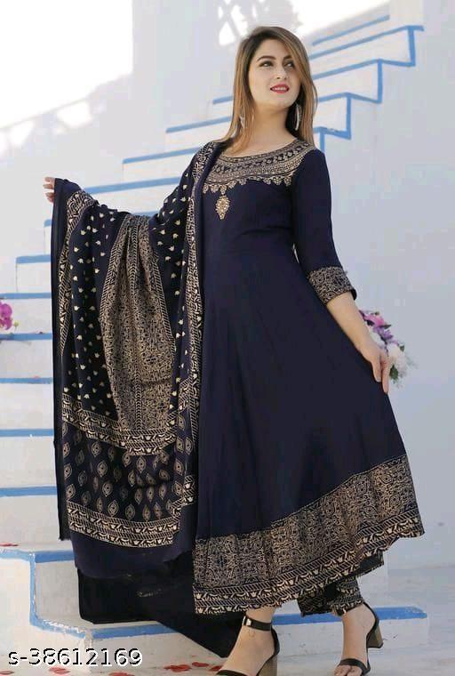 Stylish women beautiful Navy blue anarkali kurta